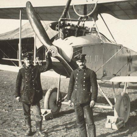149 Rumpler With Pilots Outside Hangar