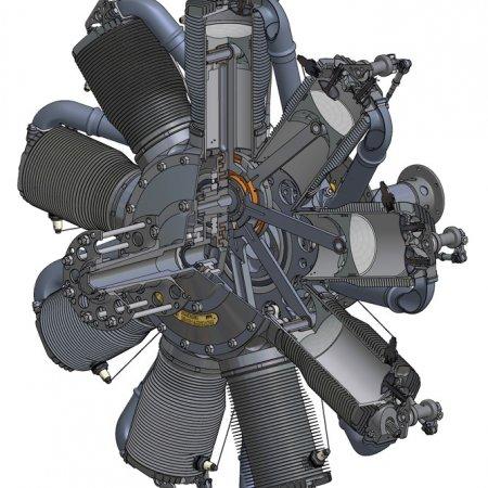 Oberursel Engine Cutaway CAD